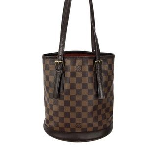 Auth* Louis Vuitton Damier Ebene Marais Bucket Bag